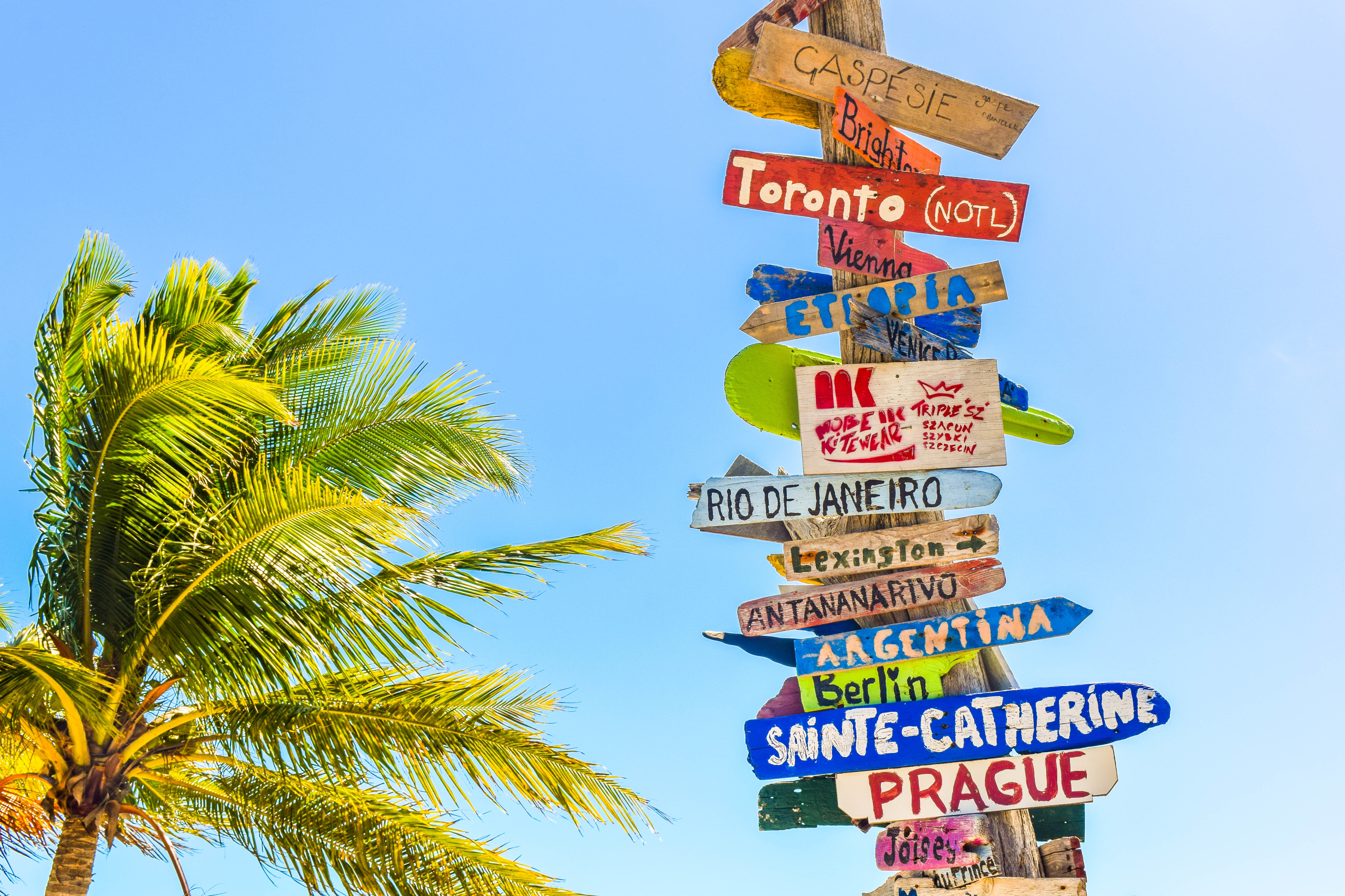 beach with signs for various locations